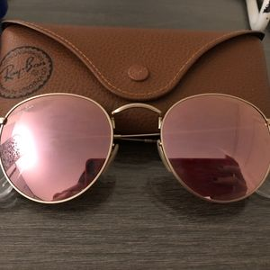 Ray-Ban Round Gold Matte/Pink Mirror Sunglasses